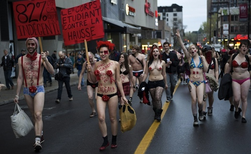 nude protest student Chile