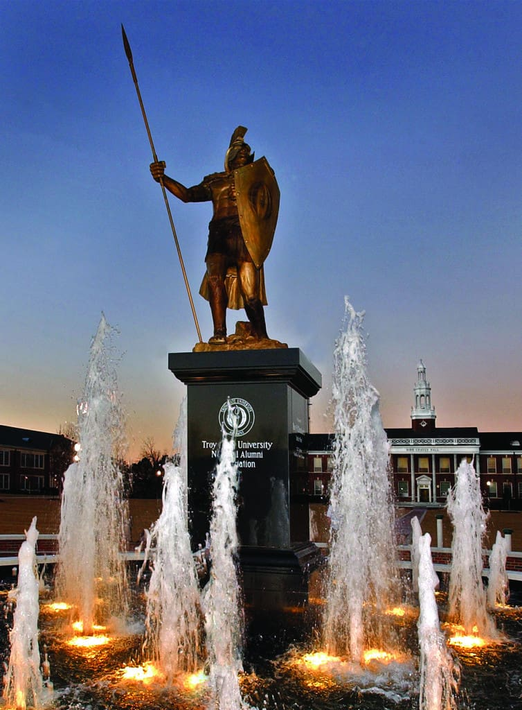 Troy U Fountain and Statue
